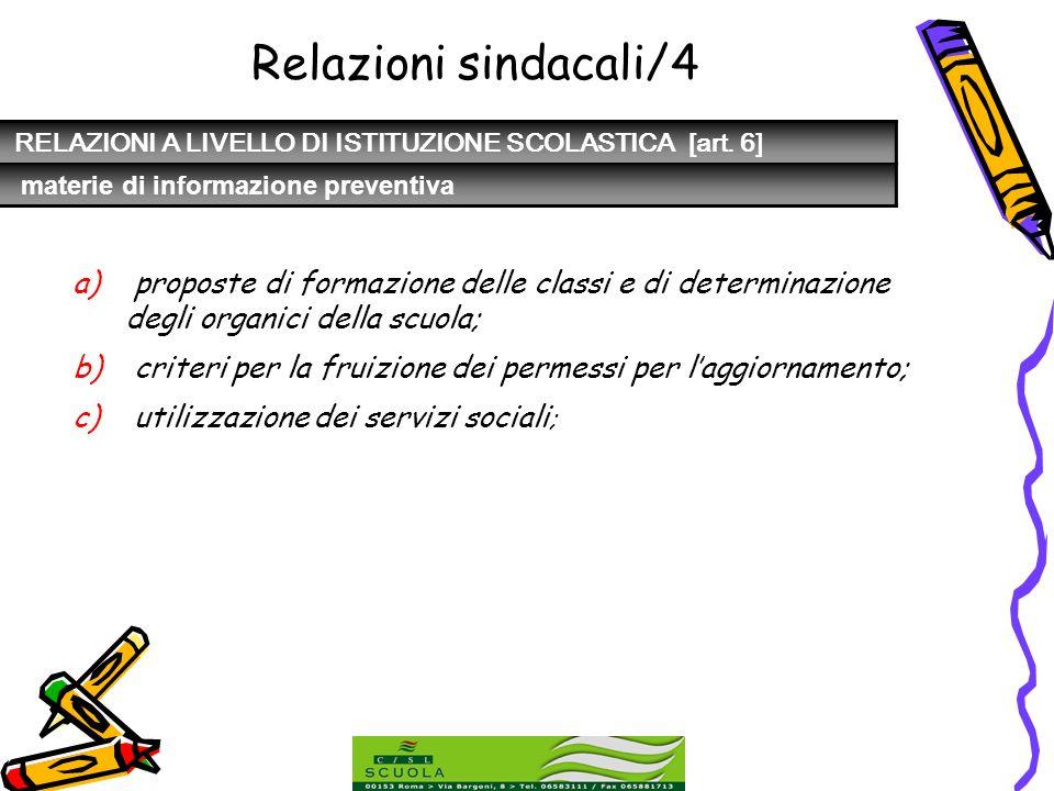 Relazioni sindacali/4 RELAZIONI A LIVELLO DI ISTITUZIONE SCOLASTICA [art. 6] materie di informazione preventiva.